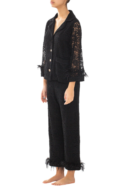 Black Lace & Feathers Pyjama Trousers