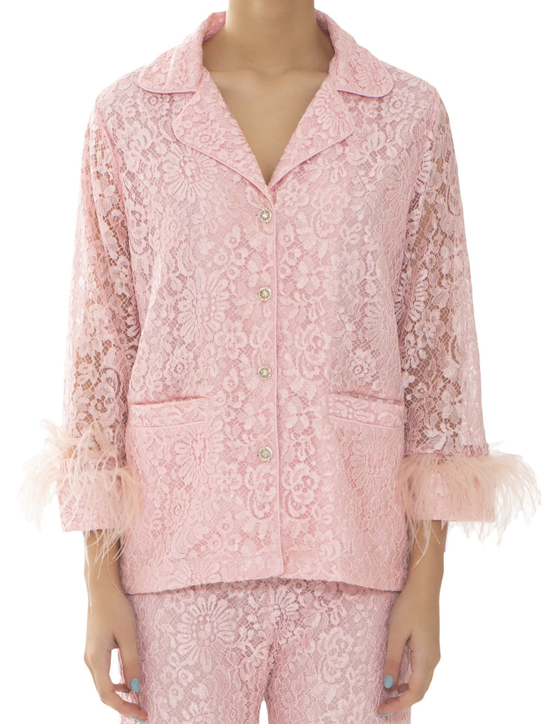 Pink Lace & Feathers Pyjama Jacket