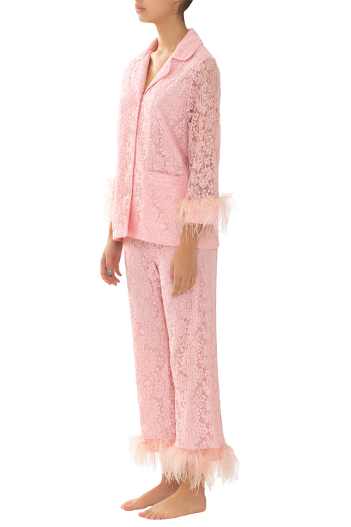Pink Lace & Feathers Pyjama Trousers