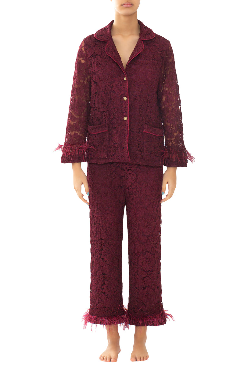 Bordeaux Lace & Feathers Pyjama Trousers