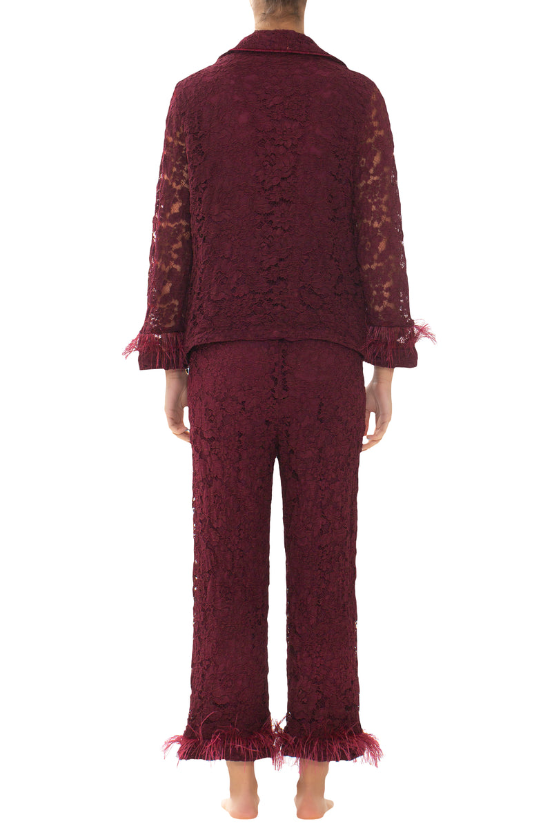 Bordeaux Lace & Feathers Pyjama Jacket