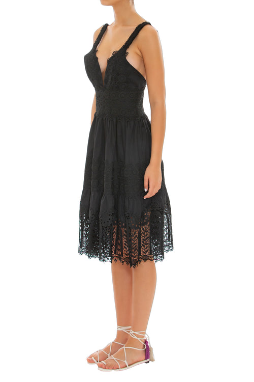 Tradição Black Lace Dress