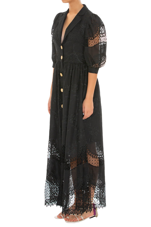 Aguaceiro Embroidered Black Dress