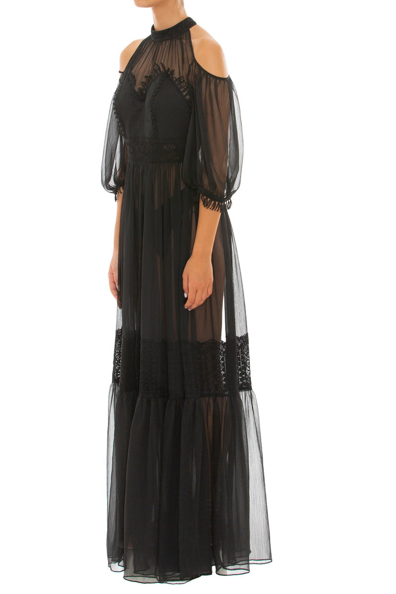Mirtilo Black Chiffon & Lace Dress