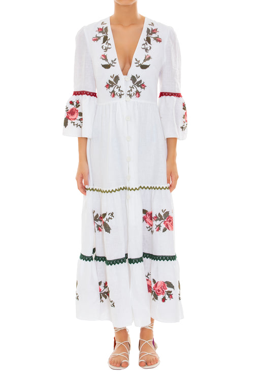 Jardim Embroidered Linen Dress