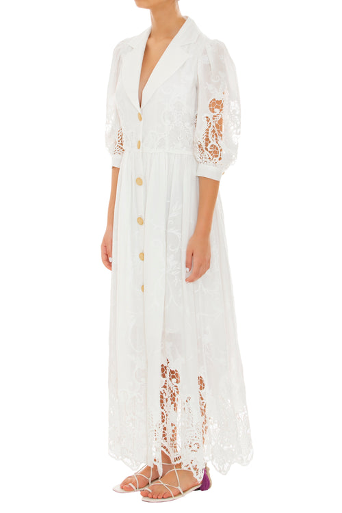 Aguaceiro Embroidered White Dress