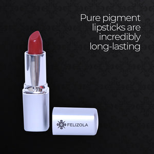 Open image in slideshow, Pure pigment lipsticks are incredibly long-lasting with coverage in a rich, luxurious formula. They won't feather or smudge.