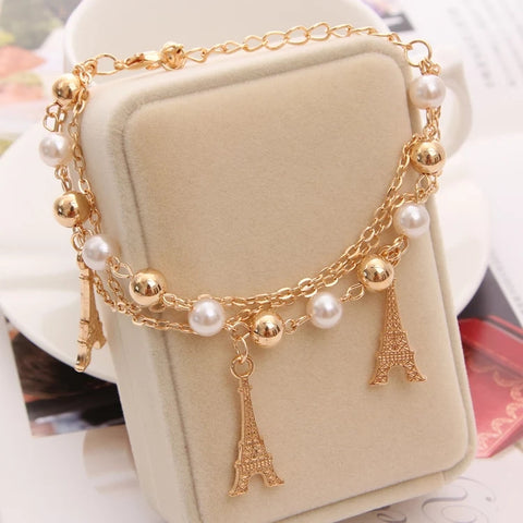 Gold White Paris Bracelet