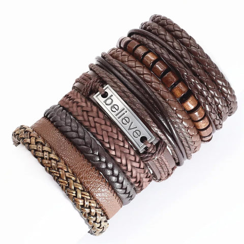 Ethinic Rope Leather Pulsera