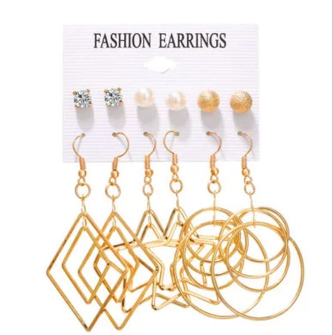 Geometric Drops n Studs Earrings