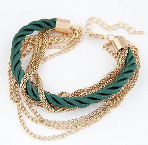 Green Braided Rope Bracelet