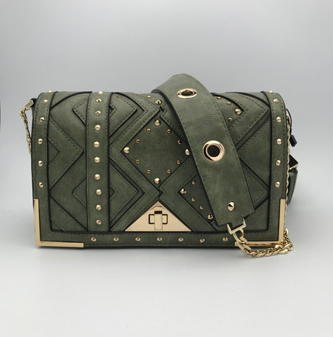 BB.GG Gold-tone metal in green shoulder bag