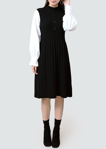 BB.GG wool black & white patchwork dress