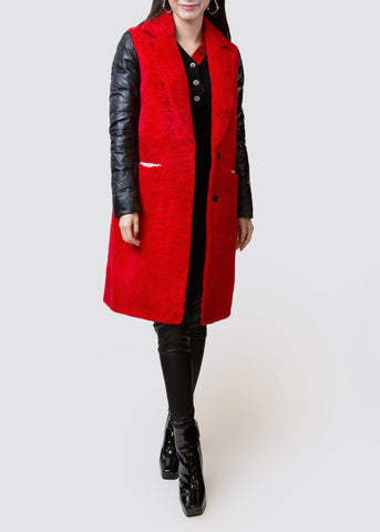 BB.GG Limited Fur-Leather stitching designer Coat