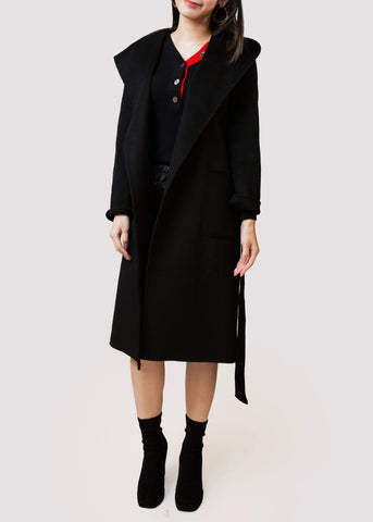 BB.GG Hooded straight long wool coat
