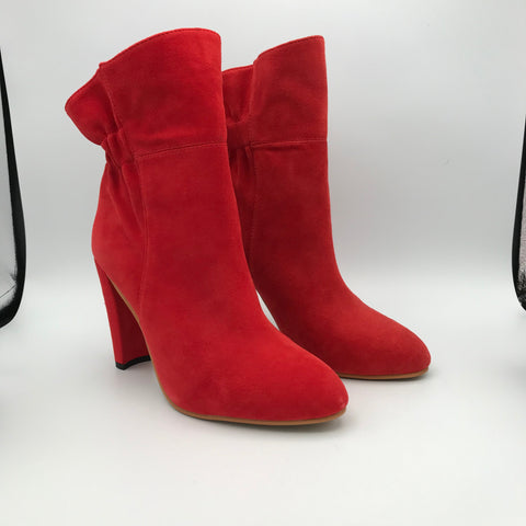 BB.GG Round-Headed Suede Semicircular Coarse Heels Ankle Boots