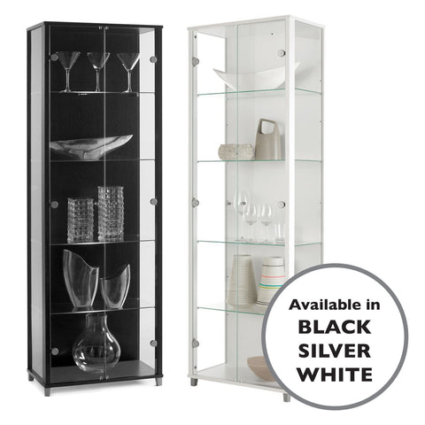 Lockable Bargain Range: Silver, Black or White Double Glass Display Cabinets