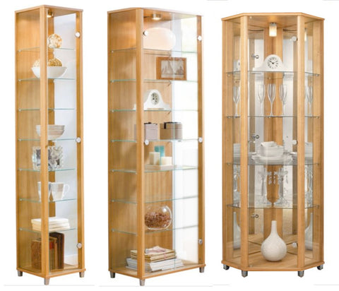 Home Oak Effect Glass Display Cabinets: Single, Double or Corner