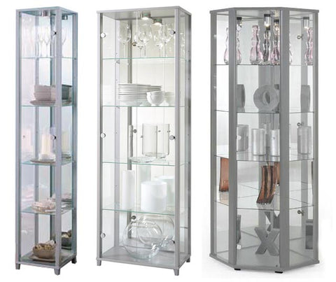 Silver Glass Display Cabinets