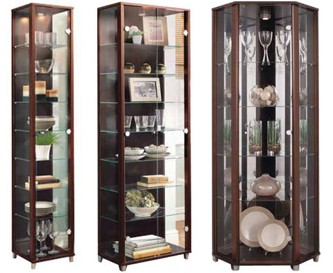 Lockable Wenge Glass Display Cabinets