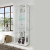 White Double Glass Display Cabinet