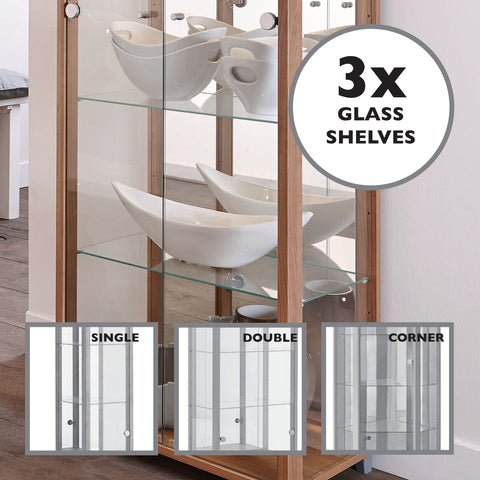 Extra Glass Shelves for Glass Display Cabinets Single Double and Corner