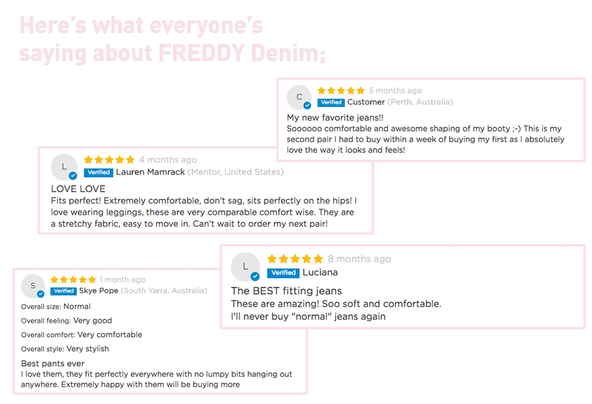 Here's what everyone is saying about FREDDY denim;