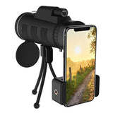 40X60 Zoom Monocular Telescope for Smartphone with Compass Phone Clip Tripod