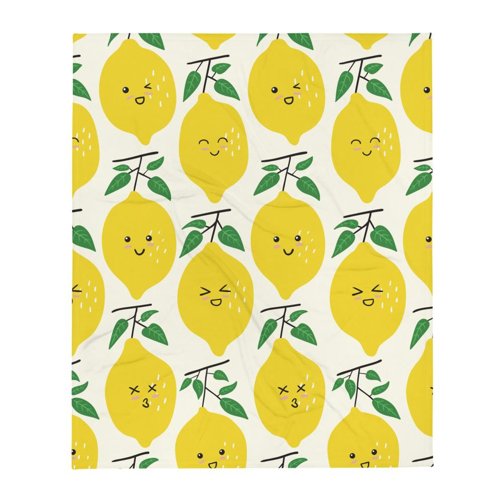 """Happy Lemons"" Throw Blanket - AMALFITANA STORE"