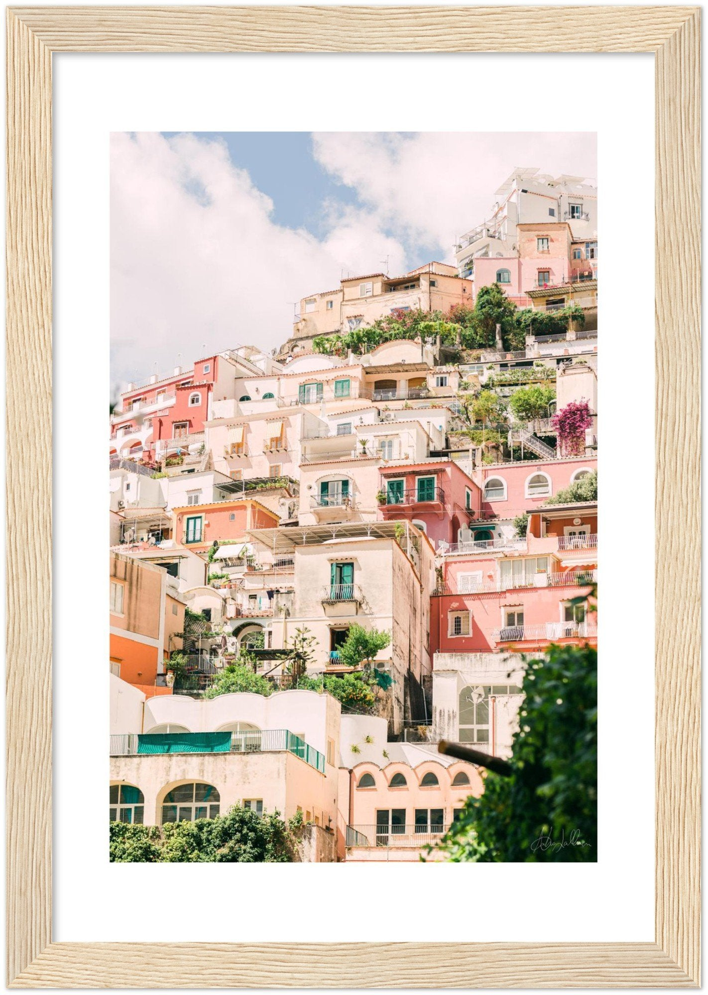 Positano Buildings - Wooden Framed Print