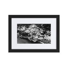 Load image into Gallery viewer, Positano Cliff BW Matte Paper Framed Poster With Mat - AMALFITANA STORE