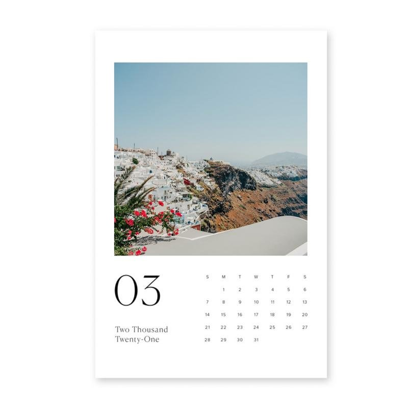 Santorini Photo Calendar 6x9in (15x23cm) with Wood stand