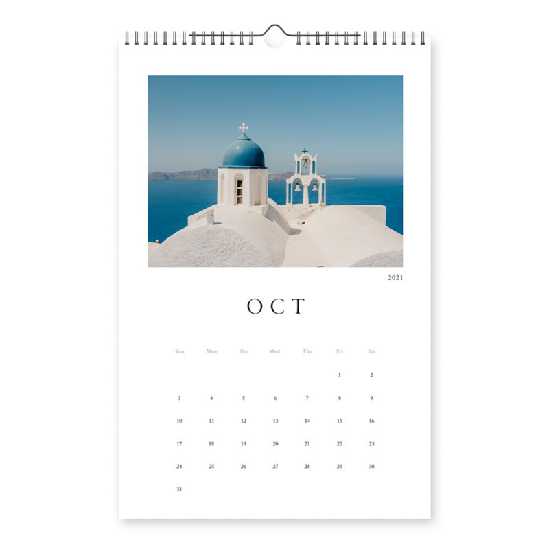 Santorini Photo Calendar 2021 -  11x17in (28x43cm) with Spiral