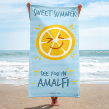 "Load image into Gallery viewer, Sweet Summer ""See you in Amalfi"" Beach Towel - AMALFITANA STORE"