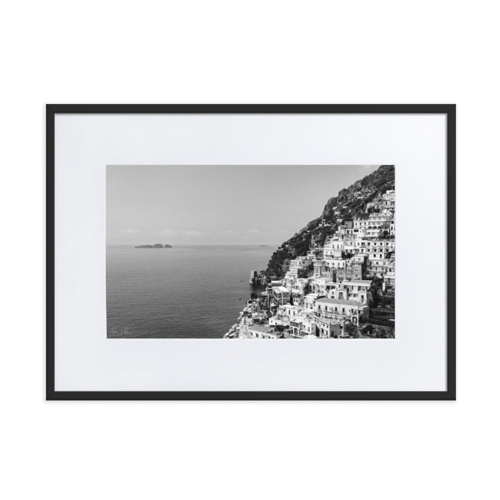 """The Cliff"" Positano BW Matte Paper Framed Poster With Mat - AMALFITANA STORE"
