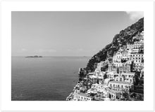 "Load image into Gallery viewer, ""The Cliff"" Positano BW Premium Semi-Glossy Print"