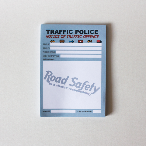 Traffic Summon Ticket Notepad for Kids