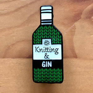 Knitting and Gin Pin Badge