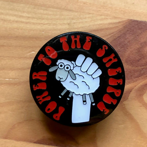 Power to the Sheeple Knitting Pin Badge