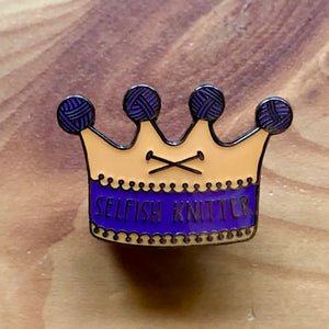 Selfish Knitter Pin Badge