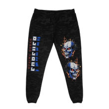 Load image into Gallery viewer, Flamin' Skull Black Camo Fleece Pants