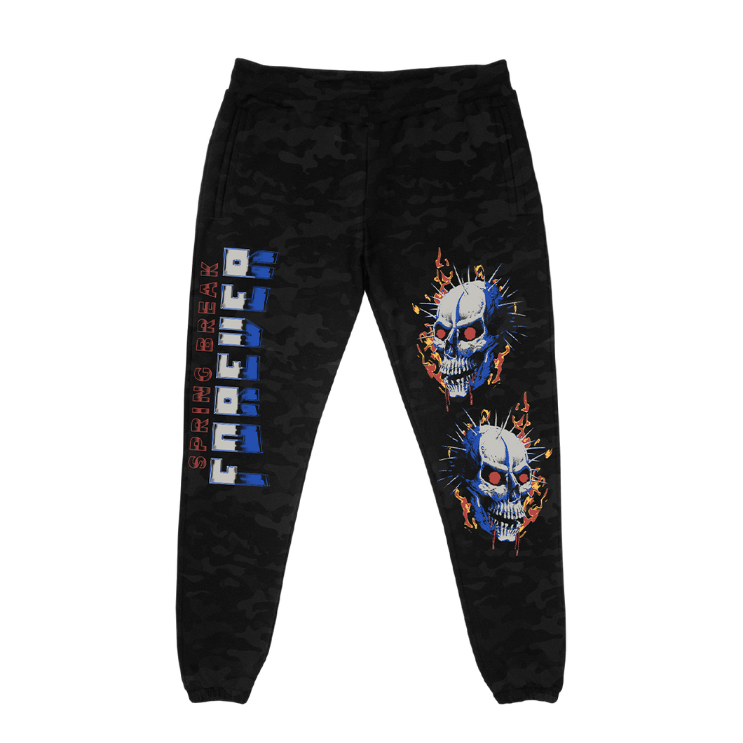 Flamin' Skull Black Camo Fleece Pants