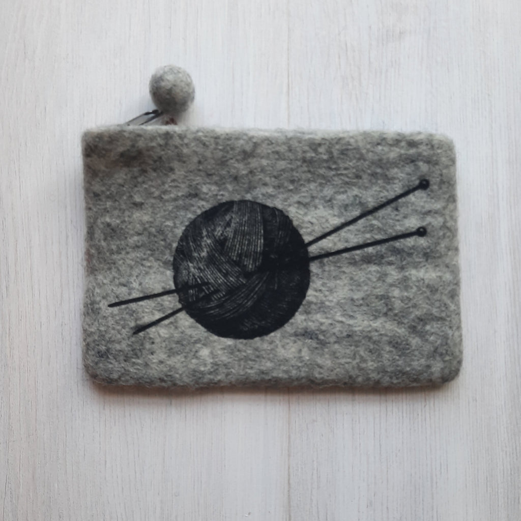 grey felted pouch with ball of yarn print
