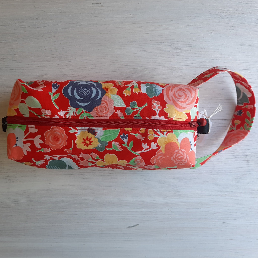 red floral boxy bag