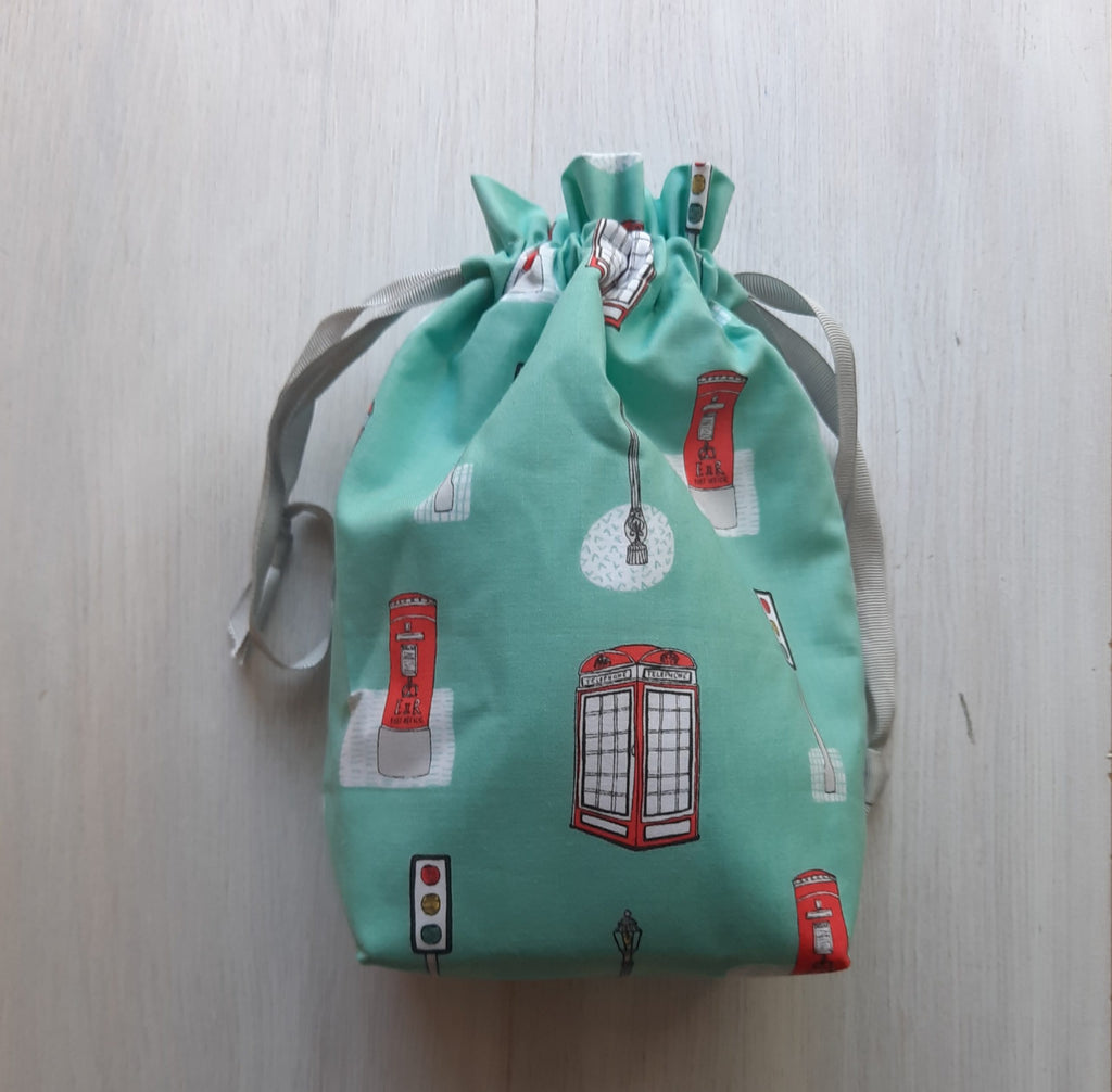 aqua project bag with UK themed print