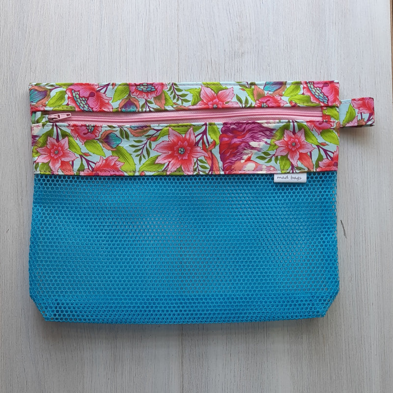 blue mesh pouch with bright floral zip top