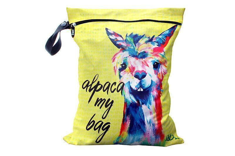 yellow wet bag featuring a watercolour alpaca and the phrase alpaca my bag