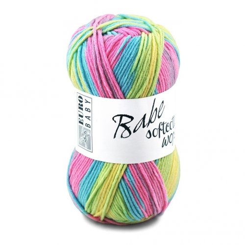 full skein of multicoloured babe softcotton worsted yarn