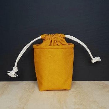 honey coloured mini drawstring bag