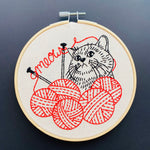 Embroidery of a Kitten with yarn